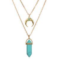 Wholesale Double C Pendant - Fashion Double Layer Chain Natural Stone Pendant Necklaces Gold C Moon Choker Necklace For Women Jewelry Bullet Shape