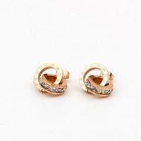 boucles d'oreilles numériques achat en gros de-Mode Titane en acier Petite boucle d'oreille en cristal romaine pour bijoux de femme Digital Dual Lady All-Match Love Boucles d'oreilles Bijoux Boucles d'oreilles
