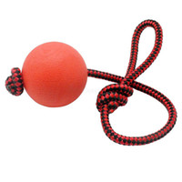 Wholesale Solid Rubber Dog Toys - Puppy Pet Play Training Chewing Toy With Rope Handle Solid Rubber Dog Tooth Cleaning Chew Ball Free Shipping