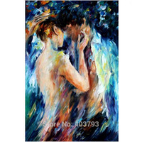 Wholesale art loving couple online - Loved Couple Intimacy Nude Handmade Painting Abstract Body Art Palette Knife Oil Picture for Home Hotel Wall Decor