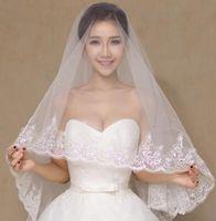 Wholesale Korean Selling Model - 2017 new hot explosion models selling new white lace wedding bride veil long Korean Princess Wedding short