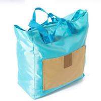 Wholesale Handbag Save - 4 Color Foldable Storage Bags Space Saving Polyester Cloth Multifunction Trolley Case Travel Handbag Shoulder Packet Housekeeping Organizer