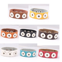 Wholesale Leather Chunks - Starlish Brand Mix 8 colors classic noosa snap leather bracelet jewelry fit 18MM 20MM snap button chunks charm free shipping