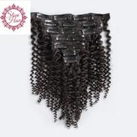 bakire saç tokası uzantıları toptan satış-İnsan saç uzatma Afro-amerikan Afro Kinky Kıvırcık Klip doğal remy brezilyalı bakire saç klip örgü uzantıları