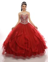 Wholesale Lace Tiered Bolero - Red Quinceanera Dresses 2017 with Free Bolero Major Beading Bodice & Ruffles Skirt Ball Gown Sweet 15 Dress Bling Bling