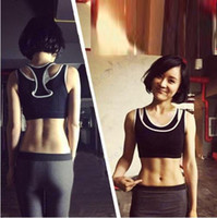 Wholesale ladies gym clothes resale online - Double Layer Seamless Sport Bra Top Black Wireless Yoga Bras Lady Shockproof Running Racerback Absorb Sweat Fitness Gym Clothing