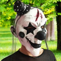 Wholesale Nose Clown Party - 2017 New Arrival Hallowen Clown Mask white black nose clown mask realistic Party Masquerade Rubber latex mask Fancy Dress Cosplay Face