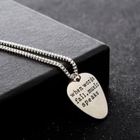 "Wholesale Silver Guitar Picks - Wholesale-Hot Hand Stamped Jewelry""When words fail music speaks""Silver Letter Necklace Guitar Pick collier femme jewelry collier anime"