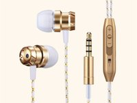 Wholesale Earbuds Ear Plugs - Wired Earphone Bass Stereo Earbuds For Music With Mic Control 3.5mm Plug For Iphone Android Phones Black Silver Gold Sport Headset Headphone