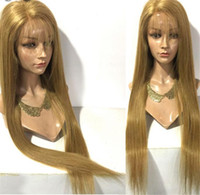 Wholesale European Remy Wigs - Silky Straight Hair Full Lace Wigs #27 Blonde Color Malaysian Remy Human Hair Glueless Wigs With Baby Hair Adjustable Strap