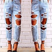 Wholesale Girls Hip Hop Jeans - Wholesale- New Hip Hop Hole Denim Jeans Boyfriend Star Tearing Jeans Cowboy Trousers Ripped Pants Female Sexy Girls 2016 Hot Sale