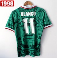 Wholesale Best Thailand Quality Retro Version Mexico World Cup Classic Vintage Mexico retro jersey BLANCO Green White HERNANDEZ football shirts