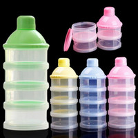 Wholesale Wholesale Baby Powder Bottles - Portable Baby Infant Feeding Milk Powder Food Bottle Container 4 Cells Grid Box