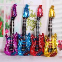 Wholesale Wholesale Inflatable Guitars - Free Shipping Popular Music Concert Guitar Cheering Stick, Inflatable toys, 83CMX30CM Party Foil Balloon 100pcs lot