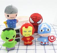 muhteşem peluş figürler toptan satış-Kaptan Amerika Doldurulmuş Hayvanlar Doll Avengers Superman Spiderman Batman Peluş Oyuncak kolye Marvel Heros Eylem Şekil Çocuk Hediyeleri