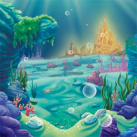 Wholesale sea photography backdrops - Princess Ariel Little Mermaid Photography Background Backdrops Under the Sea Caslte Corals Children Cartoon Back Drops