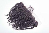 bakire saç kıvırcık kıvırcık ön toptan satış-Ucuz Hint kinky kıvırcık Dantel Frontal Kapatma Bebek Saç 13X4 Virgin İnsan Saç Dantel Frontal Kapatma Ücretsiz Kargo