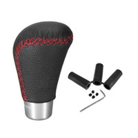 Barato Botões De Mudança De Velocidade-Botão de mudança de marchas de carro Auto Truck Vehicle Leather Red Thread Transmissão manual MT Gear Shifter Knob para VW Ford Hyunda Kia Nissan
