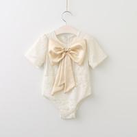 Wholesale Korean Jumpsuit Rompers - 2017 Babies Lace Bow Rompers Infant Baby Girl Princess Bowknot Jumpsuits Bebe Summer Korean romper children's clothing