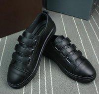 Wholesale Velcro Men - Autumn and winter new leather men's casual shoes low to help sports shoes men's Velcro flat shoes Size EU38-43