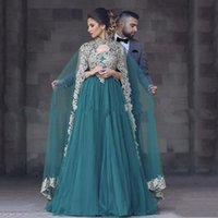Wholesale Engagement Dresses Custom Made - 2017 Fashion Hunter Green V Neck Appliques Prom Dresses with Cape For Engagement Evening Gowns Plus Size Arabic Abendkleider Vestidos Abiye
