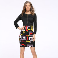Wholesale Sexy Dress Fight - New 2017 Women Autumn Sexy Casual Dress Fashion Elegent Black Geometric Fight Color Long Sleeve Pencil Dresses Wholesale DRS020