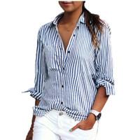 Wholesale Loose Work Blouse - Blusas Femininas 2017 Spring Women Blouses Fashion Long Sleeve Lapel Striped Shirt Loose Casual OL Work Tops Plus Size XS-5XL
