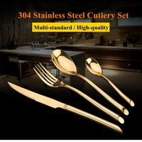 Wholesale Spoon Fork Wholesale - 24Pcs Set Gold Dinnerware Flatware Set 304 Stainless Steel Dinner Knife Fork Spoon Teaspoon Cutlery Set