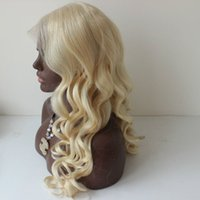 Wholesale Hair Bangs Light Blonde - Brazilian Hair Body Wave Full Lace Human Hair Wigs With Side Bangs Lace Front Wig # 613 Glueless Full Lace Wigs