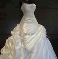 Wholesale Slight Sweetheart - Best Selling 2017 Wedding Dresses with Rhinestones Slight Sweetheart Blush Train Ruffled Fold Pleat Lace up Sexy Bridal Dress