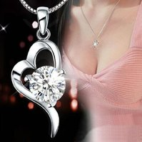 Wholesale Top Wedding Dress Wholesale - 30% 925 sterling silver Top Grade Diamond Cubic Zircon Heart Pendant necklace For Wedding Dress Sets NEW ARRIVAL 10pcs Free Shipping