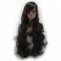 ingrosso capelli obliquo bang-La parrucca di capelli sintetici ricci lunghi di WoodFestival frangia lunga parrucca nera per le donne parrucca di fibra resistente al calore può essere tinta capelli 80cm