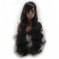 Wholesale Dyed Hair Wigs - WoodFestival oblique bangs long black wig curly synthetic hair wig for women heat resistant fiber wig can be dyed hair 80cm