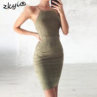 Sexy lace up backless bodycon dress vintage wildleder aushöhlen kurzes kleid 2017 frauen schlankes sleeveless party schwarz dress