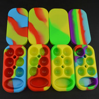 Wholesale E Solids - 1pc Silicone 6+1 Non-stick Jars Dab Container Silicon Case For Vaporizer E Cigs Oil Solid FDA Food Grade Silicone Box Wax Container