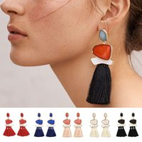 Wholesale Different Color Rhinestones - Best Quality Long Post Different Color Gemstone With Brass Connector Pendant Long Drop Silk Tassel Earrings For Women
