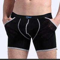 Wholesale Men Sexy Underwear Pocket - Brand Transparent boxer Men Pack Super thin Ice silk slip homme sexy gay Bikini shorts with pocket U convex pouch Underwear