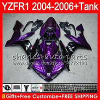 Wholesale Body Kit Yamaha R1 Purple - 8Gift 23Color Body For YAMAHA YZF R 1 YZF 1000 YZFR1 04 05 06 58HM18 Purple black YZF-R1000 YZF-R1 YZF1000 YZF R1 2004 2005 2006 Fairing kit