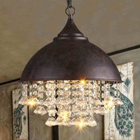 Wholesale Metal Rustic Chandelier - Modern Crystal Chandeliers American Industrial Chandelier Lights Fixture Hanging Pendant Lamps Home Indoor Lighting Metal Retro Droplight