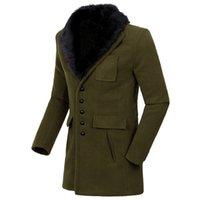 Wholesale Mens Fur Jackets Xxl - Wholesale- 2017 New Fur collar Winter Jacket Men, Fashion Business Mens Jackets Coats,men's jackets.Wool coat Outerwear,5 colors,M-XXL