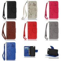 Wholesale Butterfly Pouch Iphone - PU Leather Wallet Case Cover Pouch Butterfly & Flower Patern With Card Slot Standholder Strap For iphone 7 7Plus 6 6S 6SPlus 5S SE