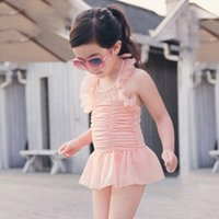 Wholesale Cheap Suits Children - girls bathing suits casual lovely red blue bathing clothing suits children swimsuits high quality cheap price factory skirt