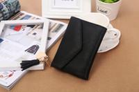 Wholesale Change Purse Wallets - Miyahouse Small Tassel Wallet Women Envelope Short Purses PU Leather Lady Hasp Clutch Purse Female Three Folds Change Wallet