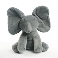 Wholesale Elephant Stuff Animal - 40CM New Style Peek A Boo Elephant Stuffed Animals & Plush Elephant Doll Play Music Elephant Educational Anti-stress Toy For Children