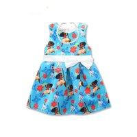 Wholesale Necklace Summer Dress Children - New baby girls Moana dress summer cartoon Children sleeveless bow printing princess dresses Kids Clothing with necklace C1966