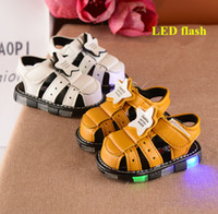 Wholesale China Baby Pvc Shoes - China supply 2017 summer new arrival baby boys toddler shoes sandals lights led flash toe caps hook loop white  old yellow 15-19