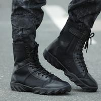 sapatos de escalada ao ar livre respirável venda por atacado-Sapatos de Caminhada ao ar livre Tático Botas de Combate Preto Bota Leve Respirável Sapatos de Caça Para Homens Botas de Montanha de Escalada Sapatos de Treinamento
