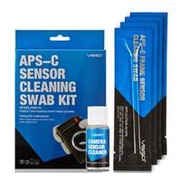 Wholesale Keyboard Brush Screen Cleaner - Professional APS-C Sensor Cleaning Swab Kit 12pcs Swab Sticks 15ml Cleanser Pack For DSLR Sensor Lens Screen Keyboard Glasses.