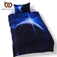 Wholesale Twin Cotton Quilts - Wholesale- BeddingOutlet Galaxy Bed Set Earth Moon Print Gorgeous Unique Design Quanlity Limited Outer Space Quilt Cover Set