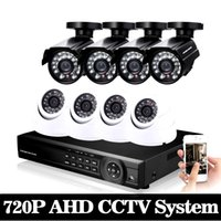Wholesale indoor outdoor surveillance system - 8CH 1080P CCTV system 1.0MP video surveillance 1080N AHD CCTV DVR 1080P NVR kit 8*720p Outdoor indoor security camera system
